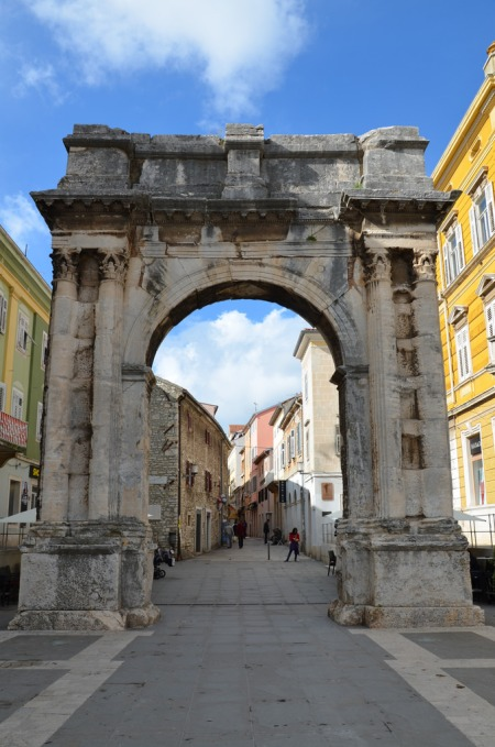 The Arch of the Sergii, a famous patrician family in ancient Rome. It was built at the end of the 1st century BC (around 29 and 27 BC) by Salvia Postuma Sergii with her own money, in honour of the three members of her family who took part in the battle of Actium.