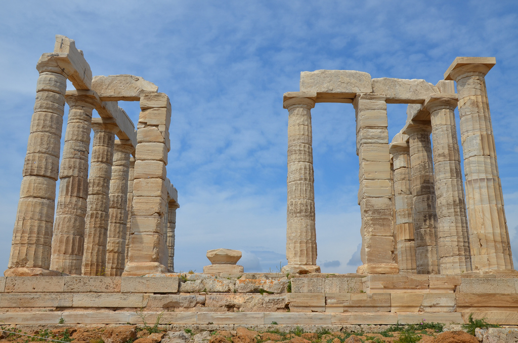 The temple of Poseidon at Cape Sounion, north side colonnade, (built circa 440 BC), Cape Sounion, Greece