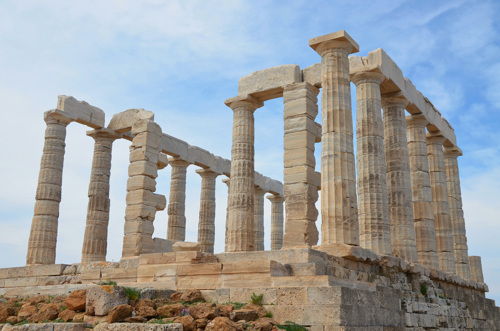 The temple of Poseidon at Cape Sounion from the northeast, (built circa 440 BC), Cape Sounion, Greece