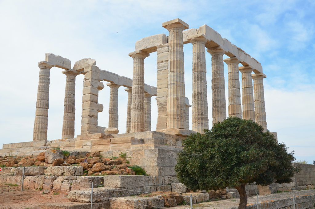 The temple of Poseidon at Cape Sounion from the north, (built circa 440 BC), Cape Sounion, Greece