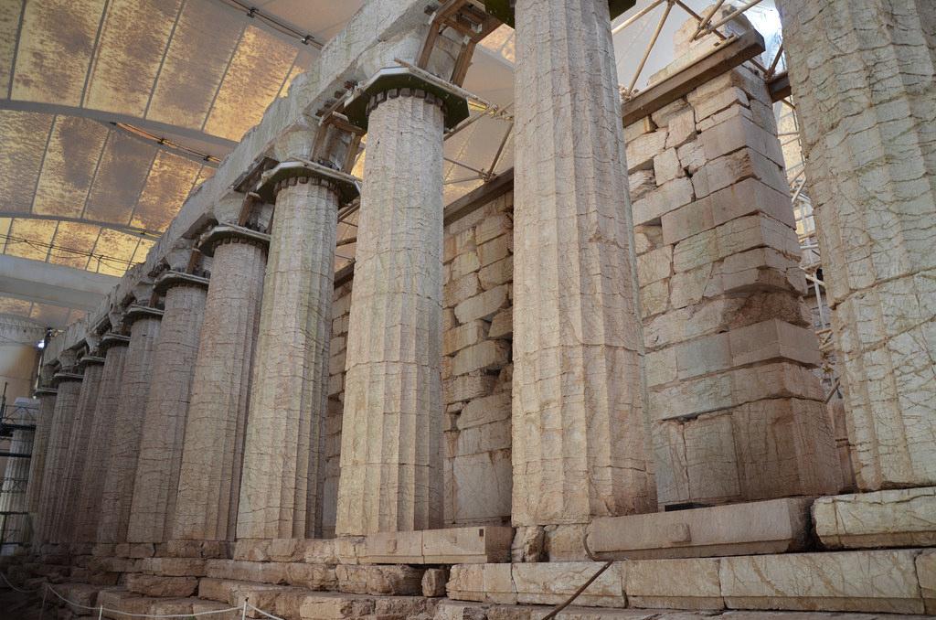 The Temple of Apollo Epikourios at Bassae, Opisthodomos and west colonnade, Arcadia, Greece