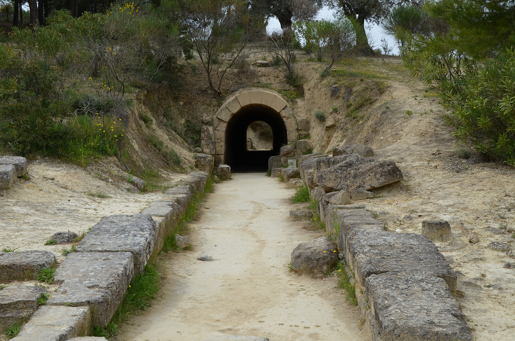 Vaulted entrance tunnel of the Ancient Stadium of Nemea measuring over 36 m in length and nearly 2.5 m in height.