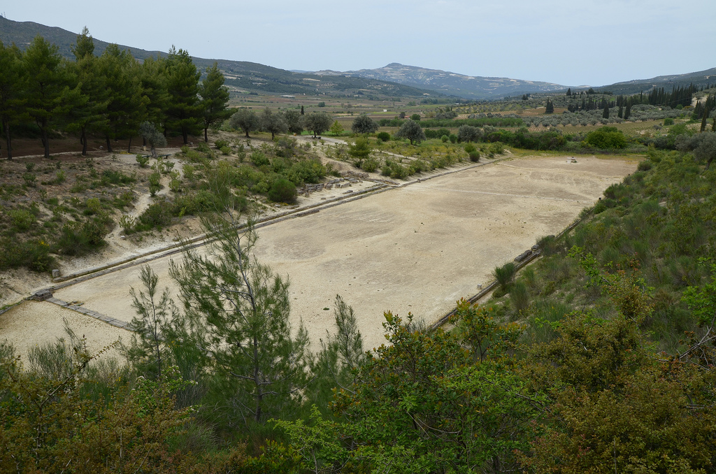The Ancient Stadium of Nemea could accommodate 30,000-40,000 spectators. There were no seats but a stand was provided for the judges.