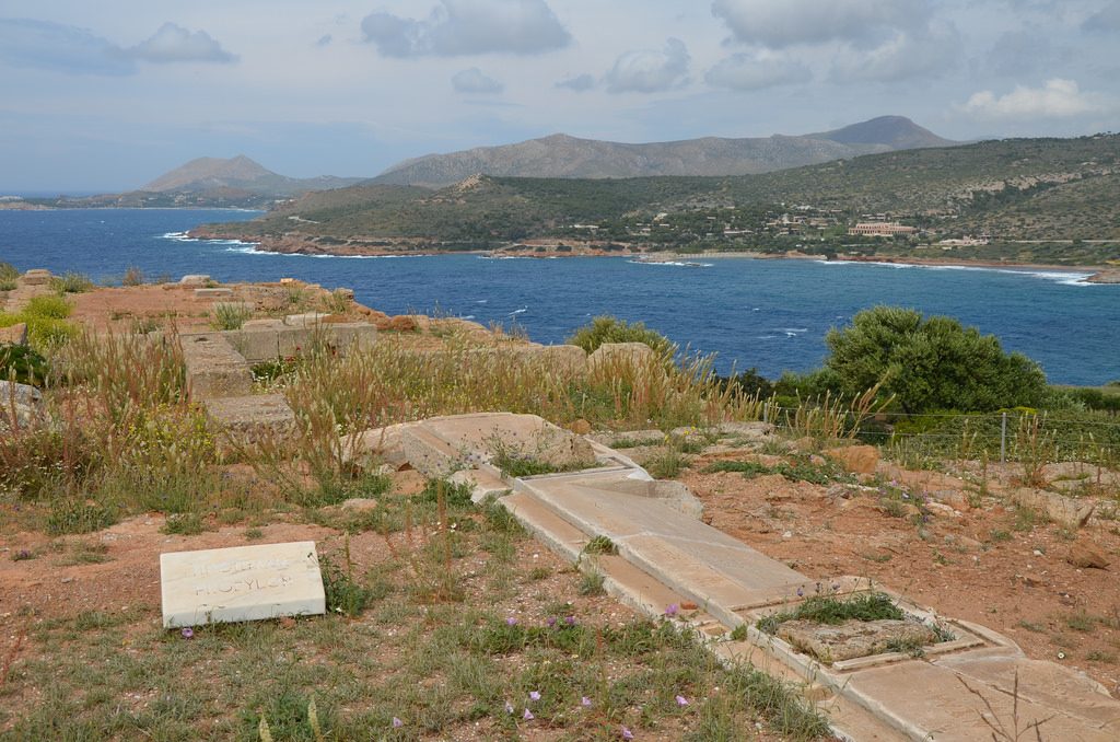 The propylaea, a monumental gateway of poros and marble, to the north of the temple, through which the sacred precinct of Poseidon was entered, Cape Sounion, Greece