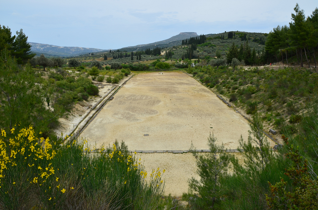 The Ancient Stadium of Nemea with the starting line in the foreground. It was built ca. 330 - 300 BC.
