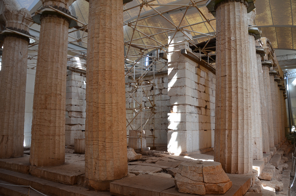 The Temple of Apollo Epikourios at Bassae, Opisthodomos and west colonnade, Arcadia, Greece