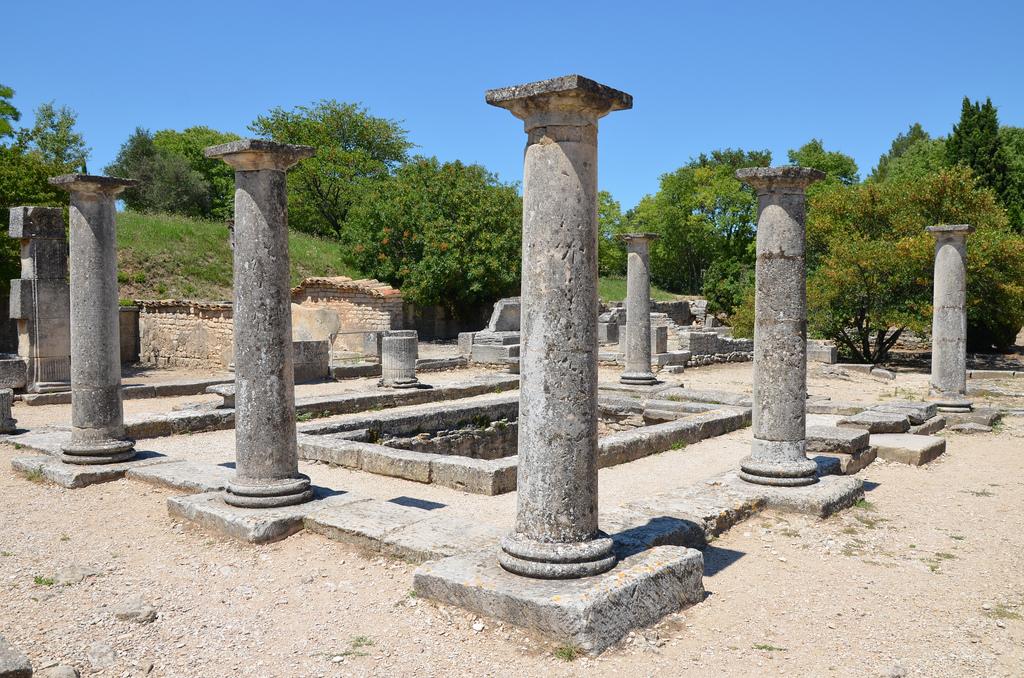 The House of the Antae, a Hellenistic-style residence with a peristyle of Tuscan columns and a basin to capture rainwater, Glanum