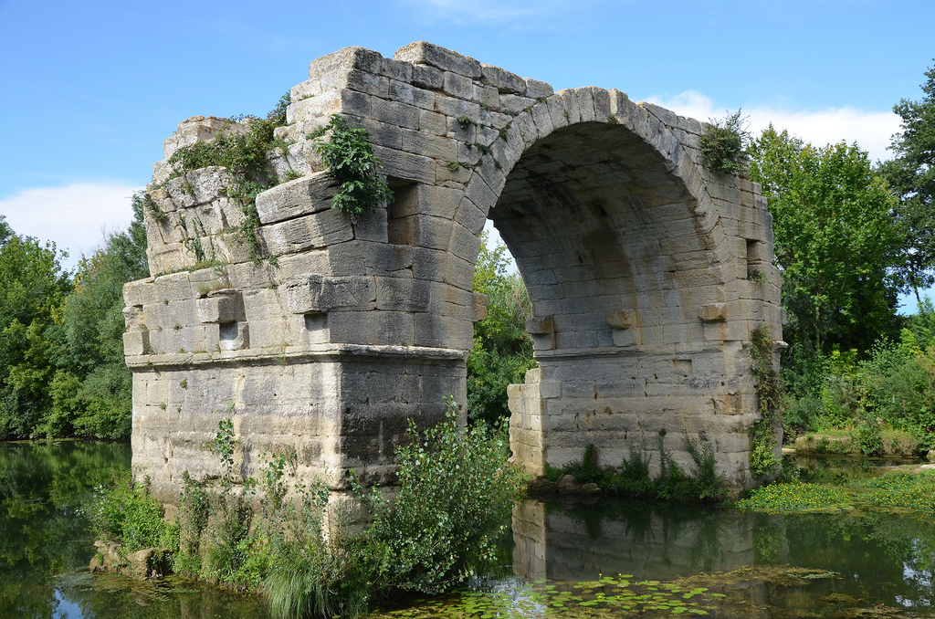 The remaining arch of Pont Ambroix, 1st century BC Roman bridge part of the Via Domitia.