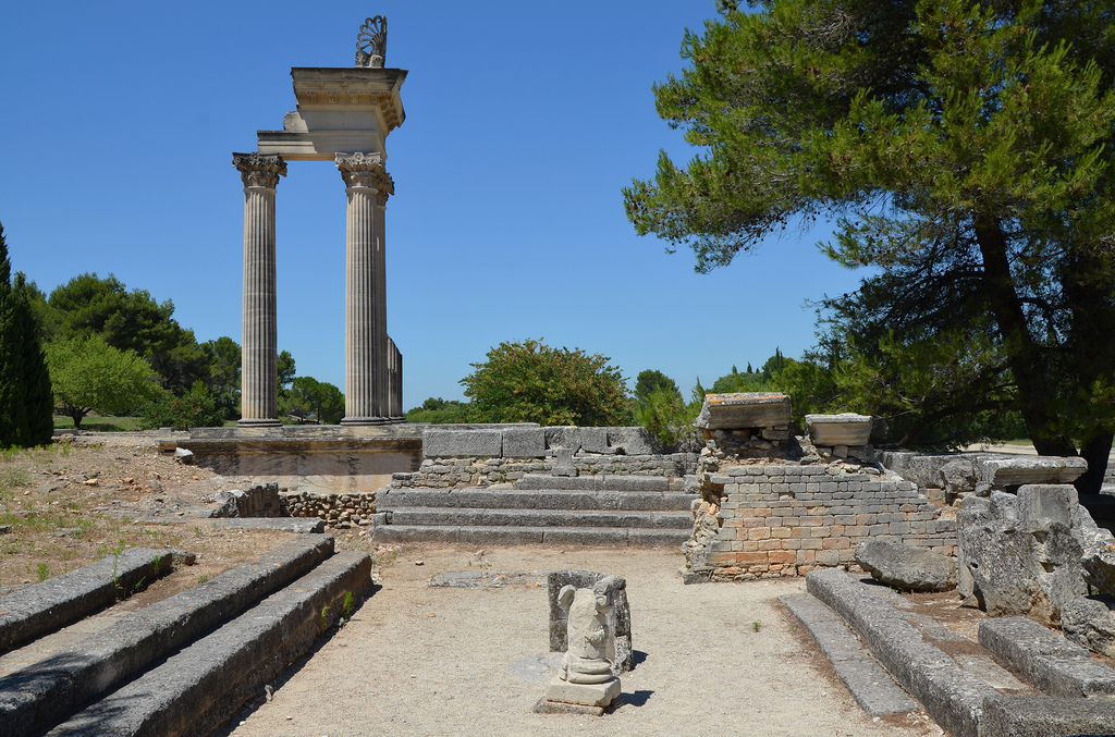 The Hellenistic Bouleteurion with the partially reconstructed temple in the background.