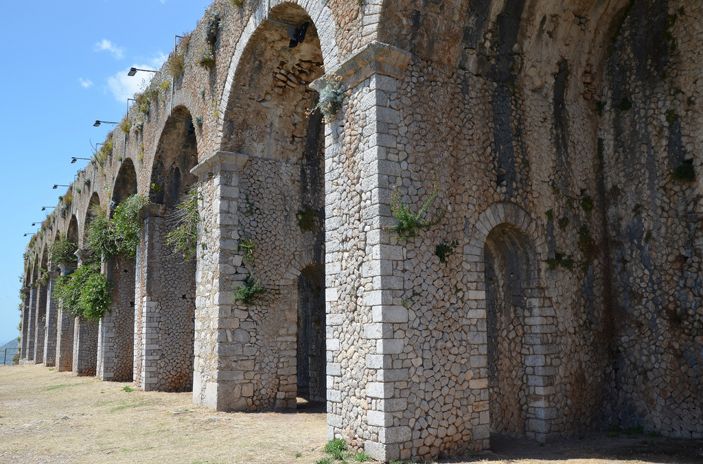 The 12 pillared arches of the cryptoporticus of the so-called Sanctuary of Jupiter Anxur, Terracina, Italy