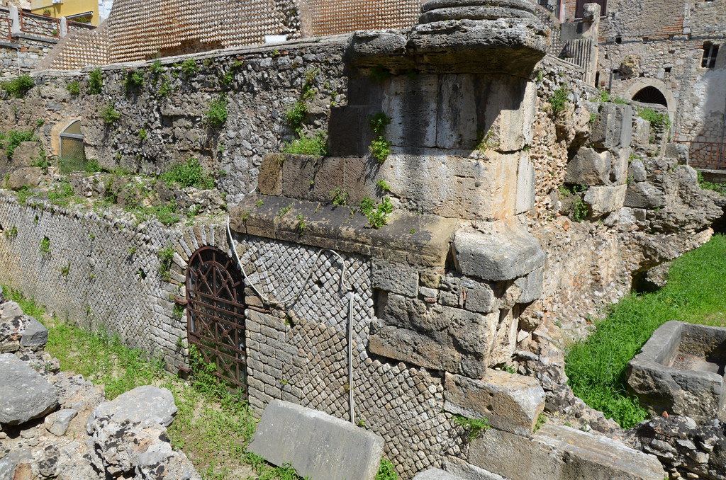 The podium of the Capitolium with the door leading to the favissae (the rooms where the votive offering were kept), Terracina (Anxur), Terracina, Italy