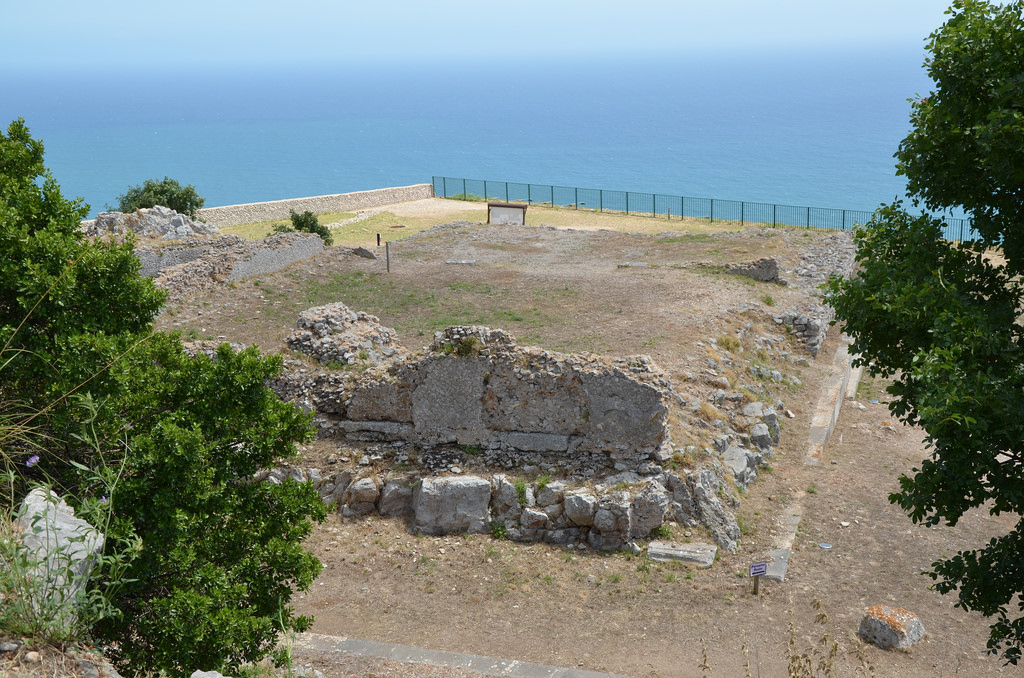 The ruins of the podium of the so-called Temple of Jupiter Anxur, Terracina, Italy