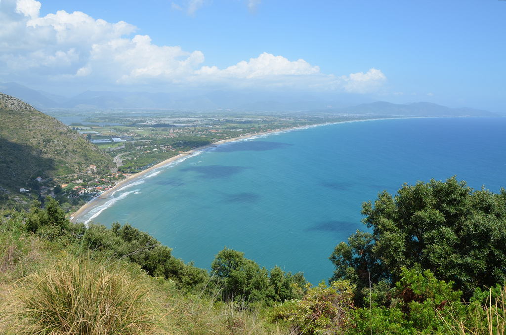 View of the Fondi plain from the so-called Sanctuary of Jupiter Anxur, Terracina, Italy