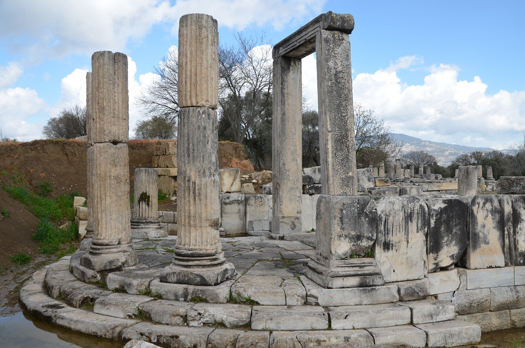 The propylaea (monumental gateway) with a semicircular colonnade at the front, Sanctuary of Hecate in Lagina, Caria, Turkey