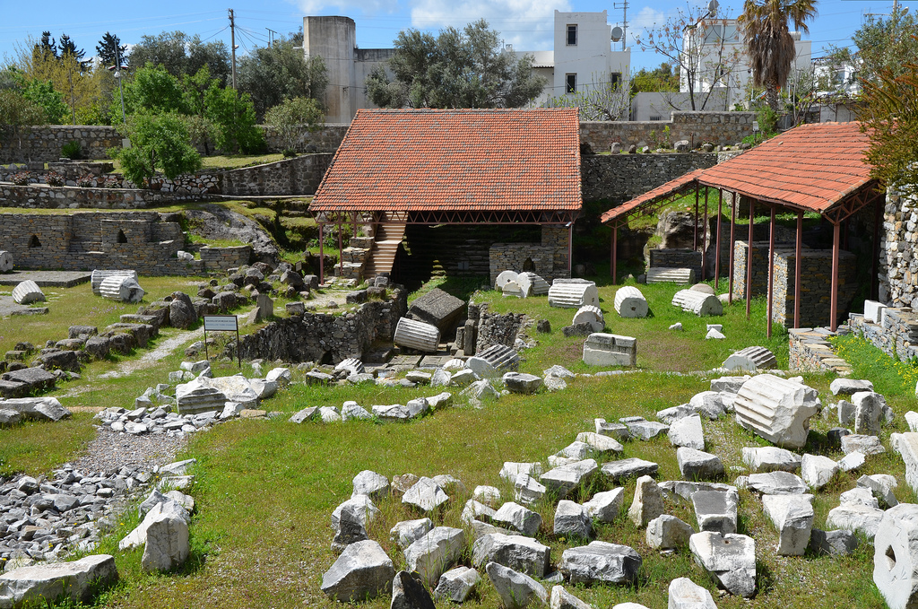 The ruins of the Mausoleum of Halicarnassus, constructed for King Mausolus during the mid-4th century BC at Halicarnassus in Caria, Bodrum, Turkey