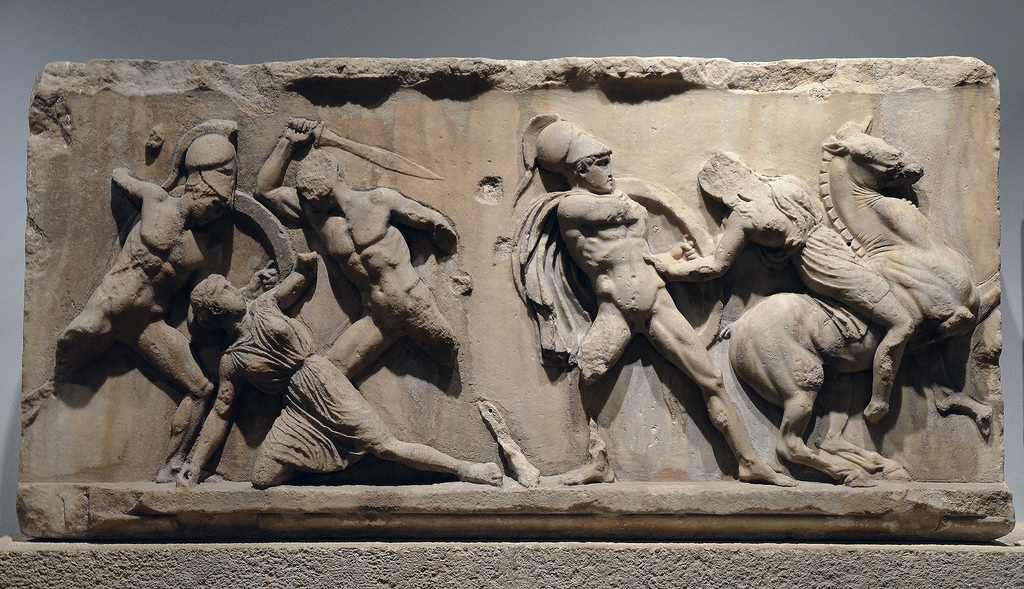 Slab of the Amazonomachy frieze from the Mausoleum at Halicarnassus. On display in the British Museum in London.