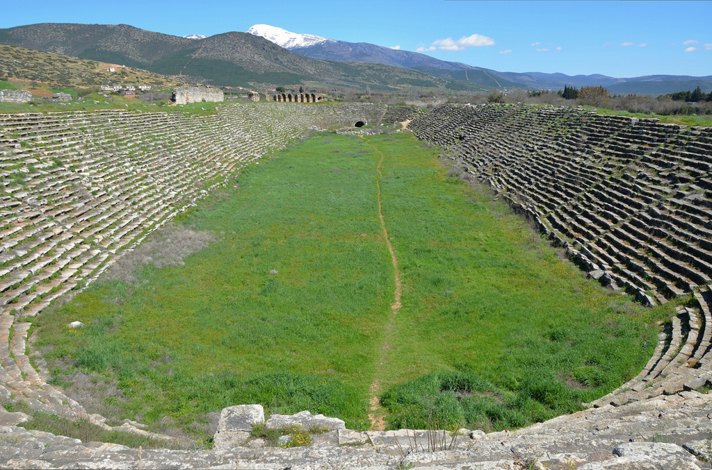 The stadium, 262 m long and 59 m wide with 22 rows of seats, it had a capacity of 30,000 spectators, Aphrodisias, Turkey