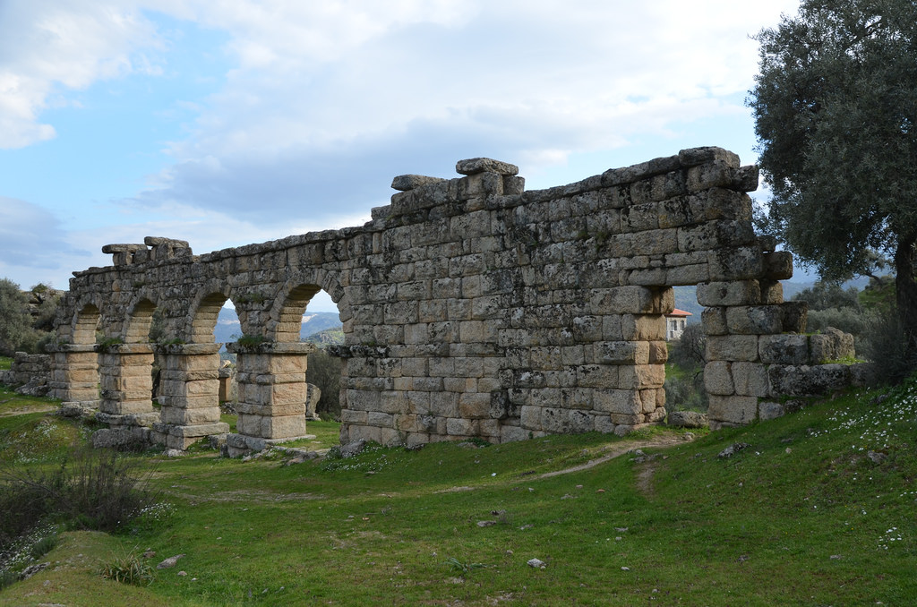 The 45 meter section of the Roman aqueduct of Alinda with 4 remaining arches, Alinda, Caria, Turkey