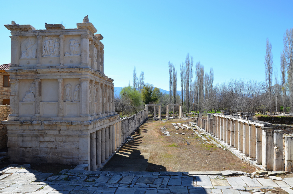 The restored southern portico of the Sebasteion, a building complex dedicated to Aphrodite, Augustus (Sebastos) and the Julio-Claudian dynasty, Aphrodisias, Caria, Turkey