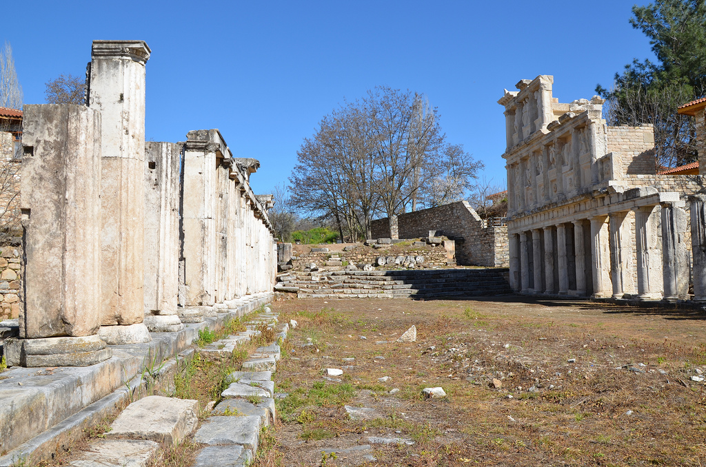 The Sebasteion at Aphrodisias is a work without parallel in the ancient world. Built entirely of marble, the Sebasteion complex was lined on both sides by three-storey porticoes whose floors were also laid with marble.
