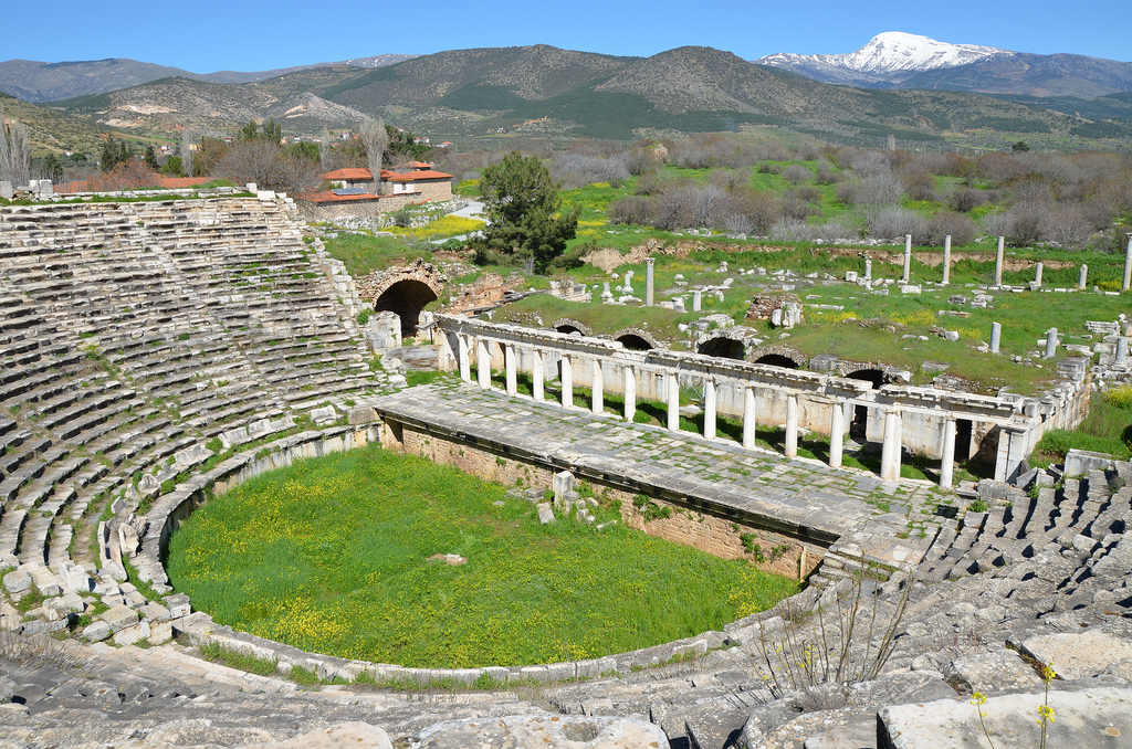The Roman theatre, built in the second half of the 1st century BC on the eastern slope of the acropolis, Aphrodisias, Caria, Turkey