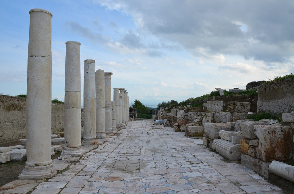 The portico of the Late Roman Agora paved with opus sectile made from onyx marble.