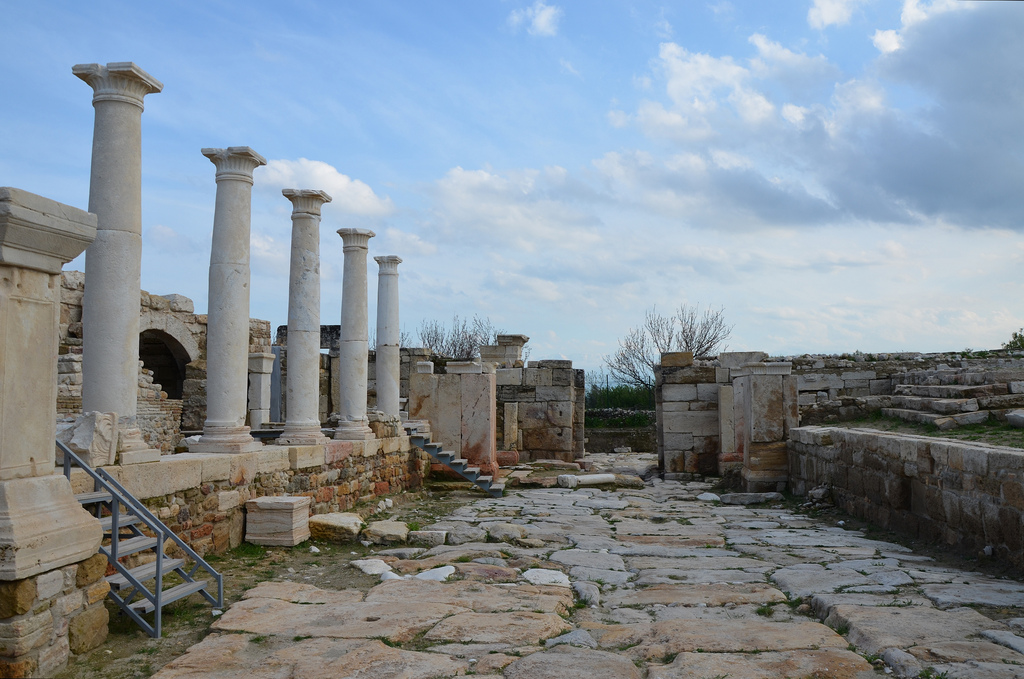 The Hierapolis Street constructed of travertine blocks running in an east-west direction.