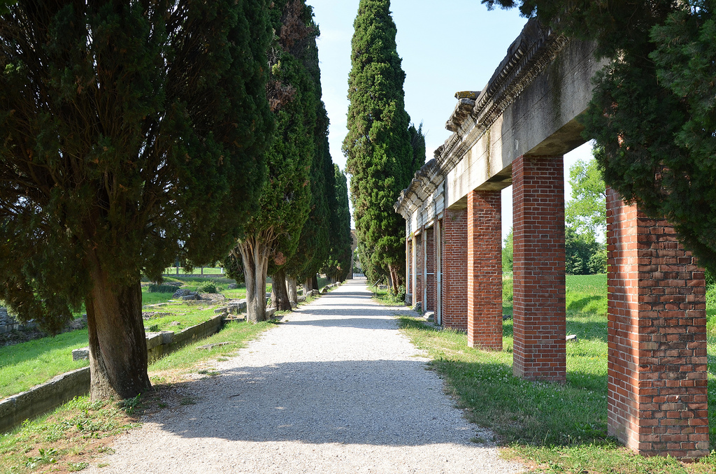The western-side remains of the fluvial port of Aquileia, built in the Julio-Claudian age along the right side of the Natiso River along the Via Sacra (the Sacred Way), Italy