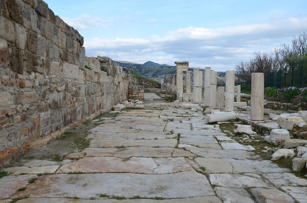 The 450m long colonnaded street running in a north-southerly direction. in the early 5th century CE, fortification walls were built on its north