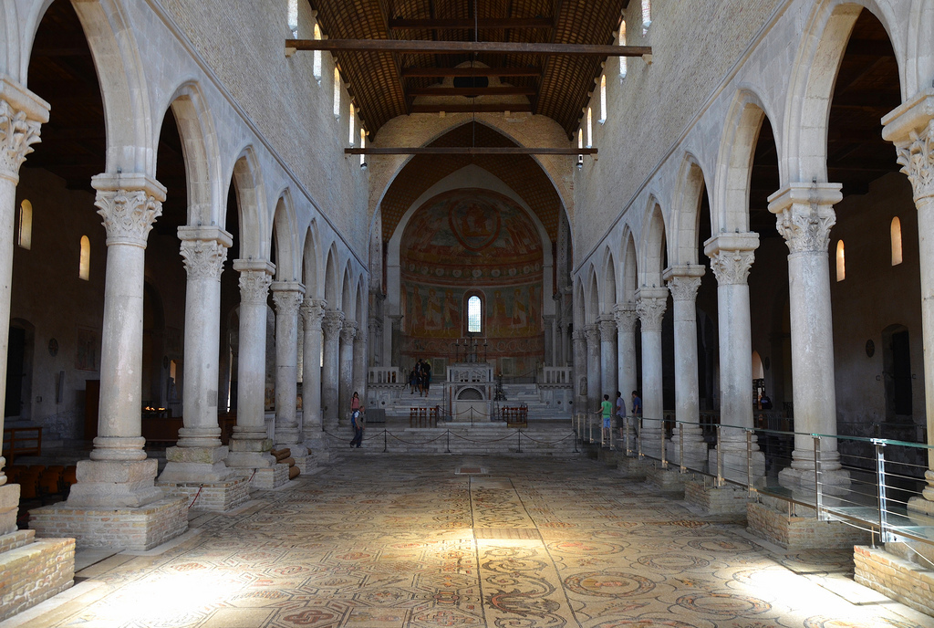 Inside view of the Basilica with the mosaic floor that was uncovered at the beginning of the 20th century, the mosaic dates back to the first stage of Christian construction of the basilica which started soon after the Edict of Toleration in 313 AD.