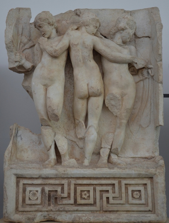 Relief from the Sebasteion depicting the Three Graces in a typical Hellenistic style (Aphrodisias Museum).