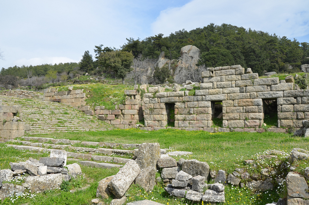 The North Wall of the Propylon area and the monumental staircase leading up from the entrance, Labraunda, Caria, Turkey