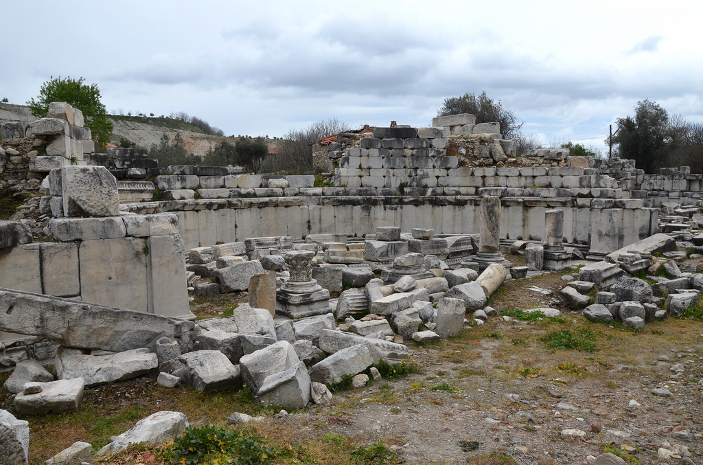 The ruins of the Ephebeion (where the Ephebes would receive instruction on Greek culture) of the impressive Gymnasium, built in the second quarter of the 2nd century BC to the west end of the city, Stratonicea Caria, Turkey