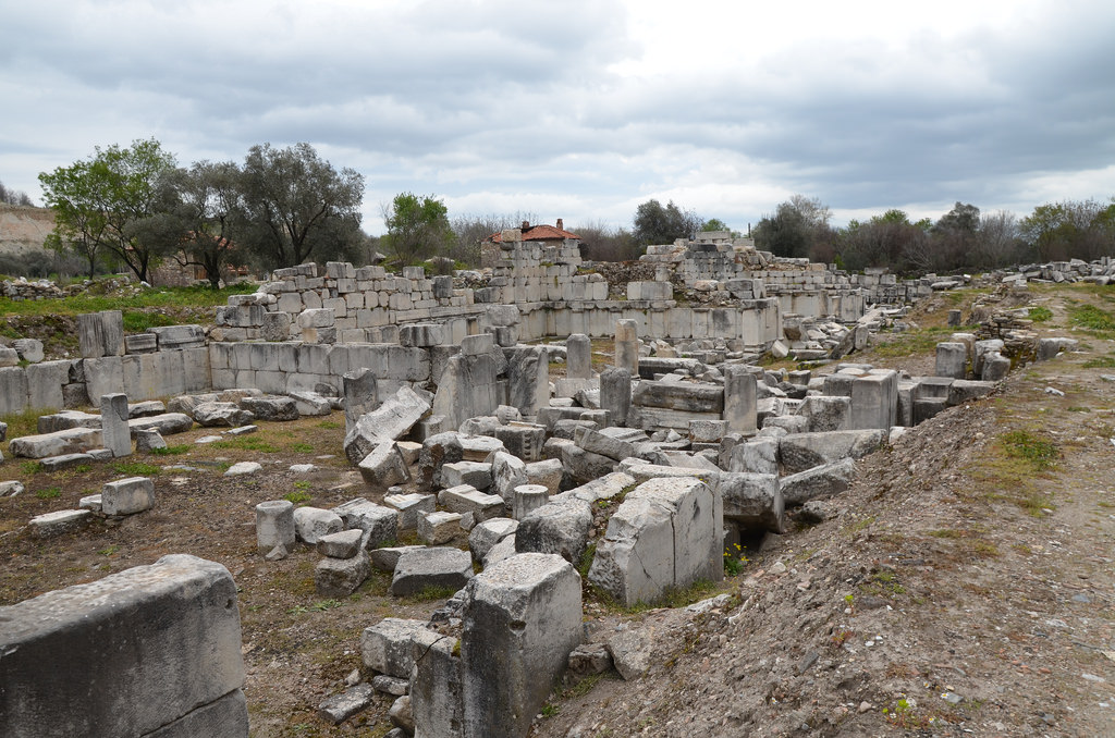 The ruins of the impressive Gymnasium, built in the second quarter of the 2nd century BC to the west end of the city, Stratonicea Caria, Turkey