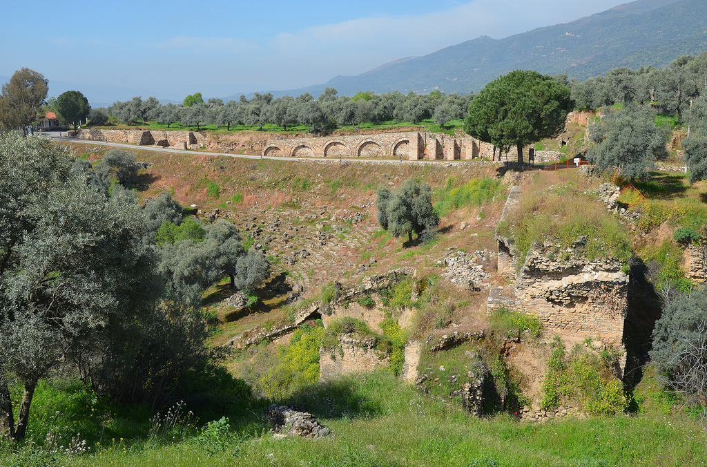 The Stadium, built at the foot of the gorge with rows of seats cut into the steep hillside and dated to Late Hellenistic period, Nysa on the Meander, Turkey