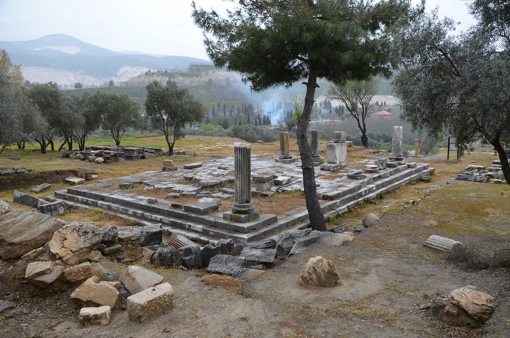 The peripteral temple built in the Ionic order, it is situated on the upper terrace and was probably dedicated to the Roman Emperor (possibly Augustus), early imperial period, Stratonicea, Caria, Turkey
