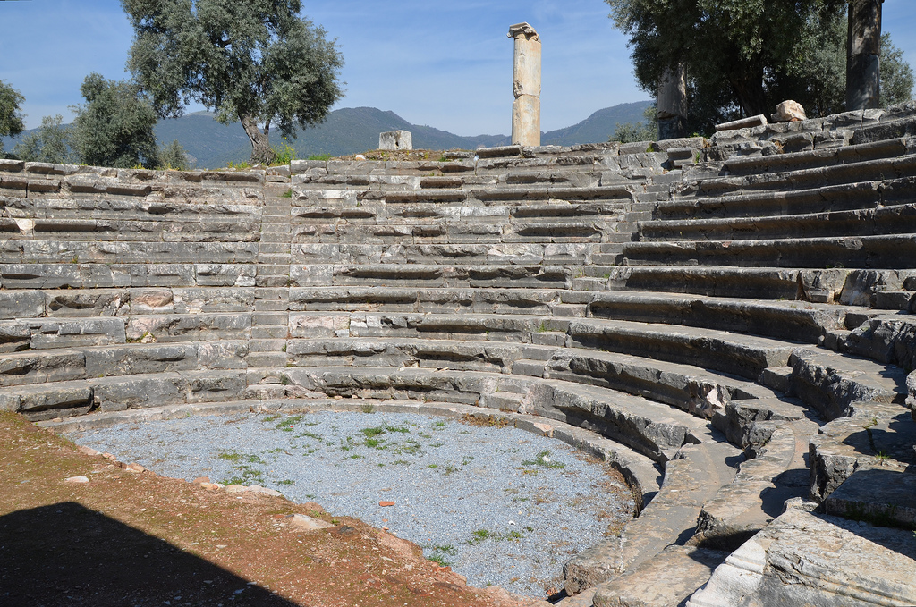 The gerontikon (Council House of the Elders), originally built during the Hellenistic and adapted as an odeon in the 2nd century AD, the capacity was 700, Nysa on the Meander, Turkey