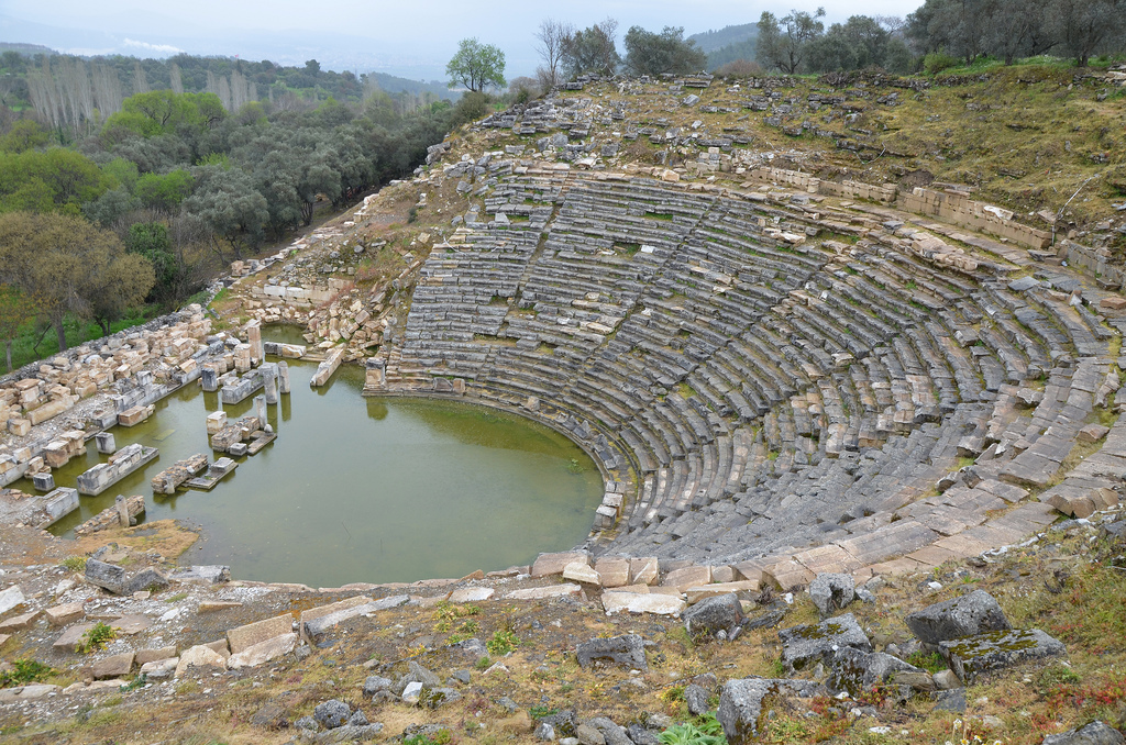 The theatre, erected in the Hellenistic period in the north slope of the south hill, its capacity was approximately 10,000 spectators, Caria, Turkey