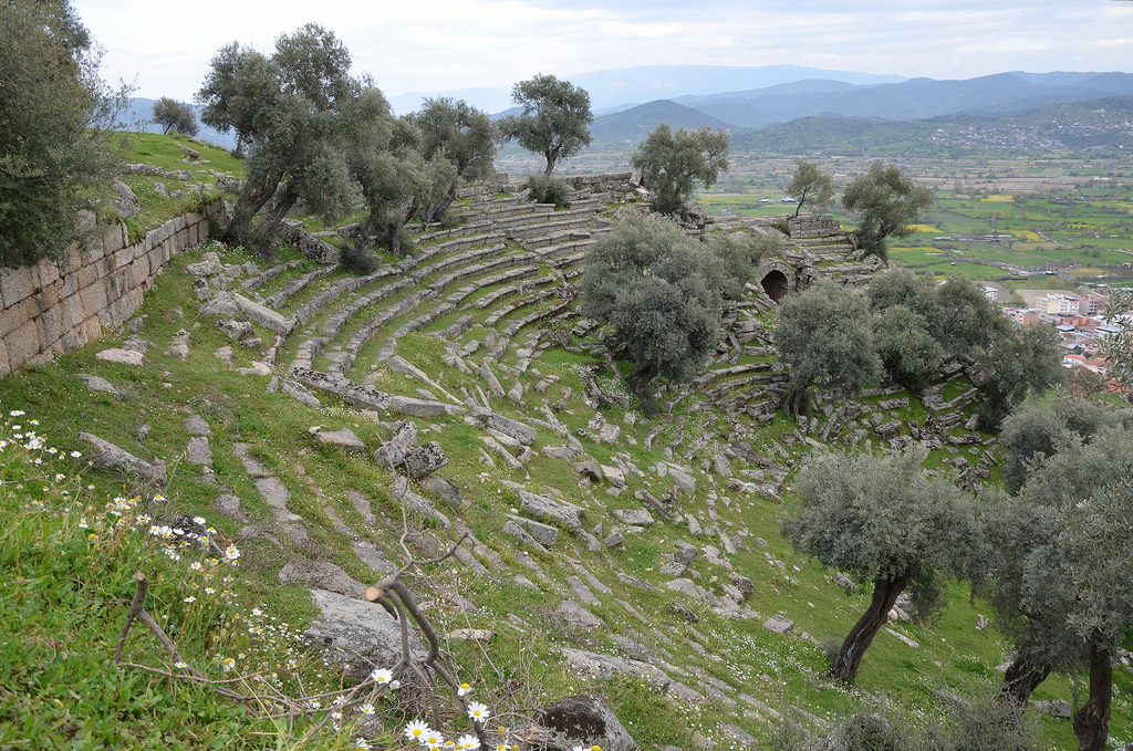 The ruins of the early 2nd century BC theatre, Alinda, Caria, Turkey