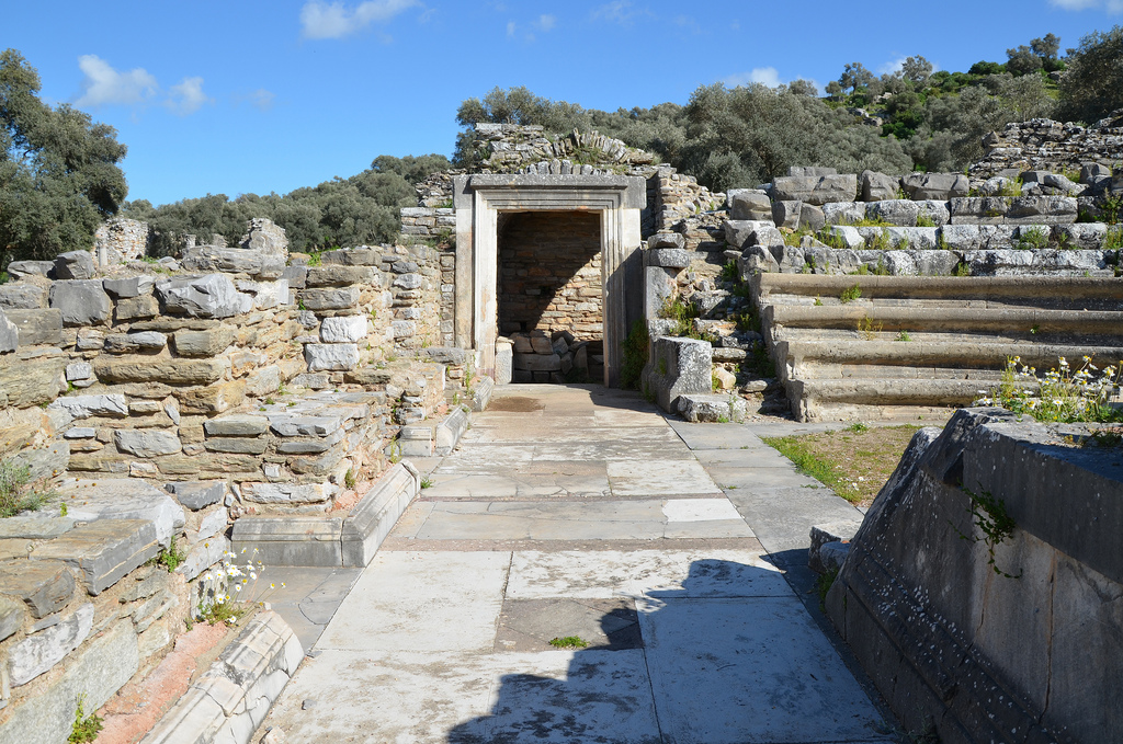 The Bouleuterion, dated to around the end of the 1st century AD, it was constructed of local porous while the stairs and the floor were of marble, Iassos, Caria, Turkey