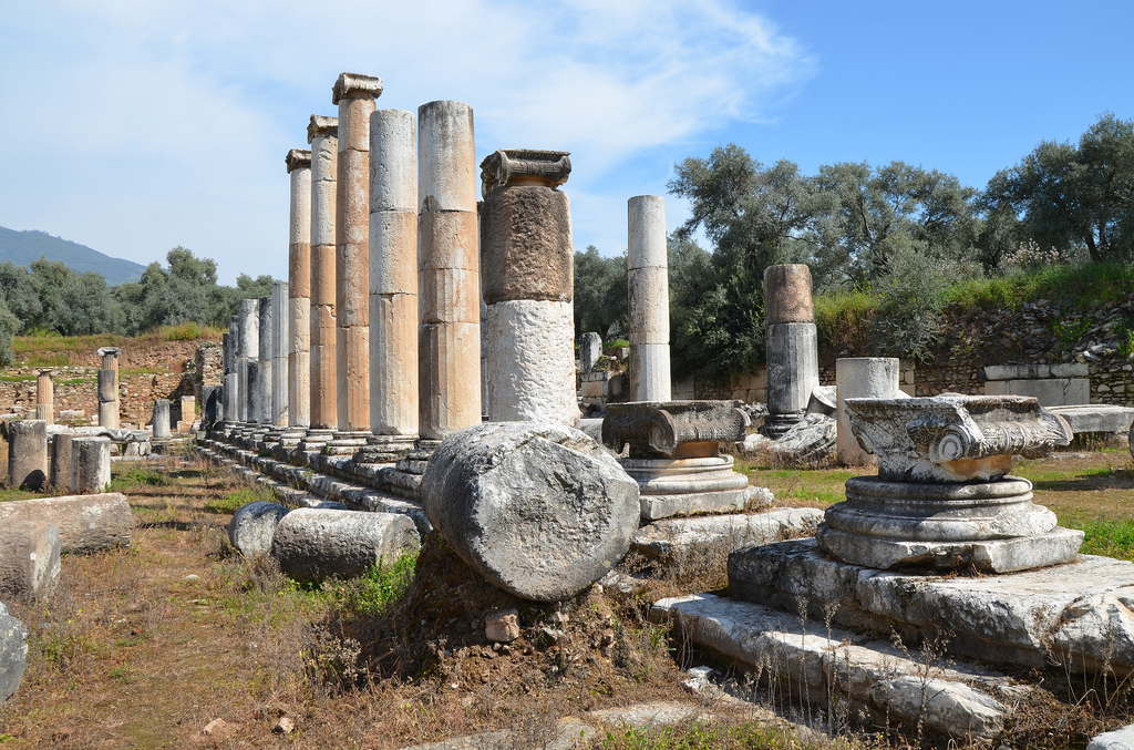 The east portico of the Agora (market place), the Agora covered an area of 113 x 130 meters, the first construction phase of the Agora is dated back to Late Hellenistic Period, Nysa on the Meander, Turkey