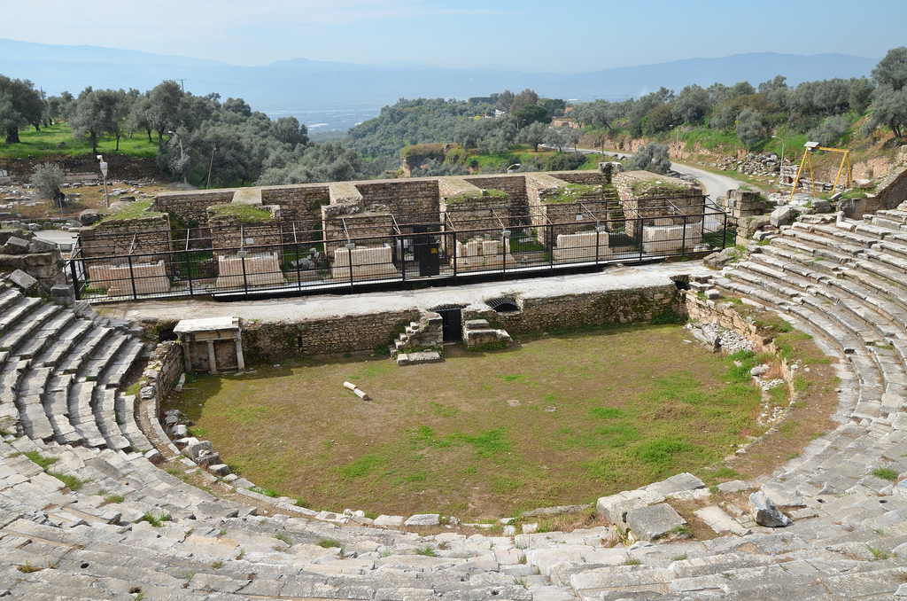 The theatre, first built in the Late Hellenistic period but the current architectural features date to the 2nd century AD, Nysa on the Meander, Turkey