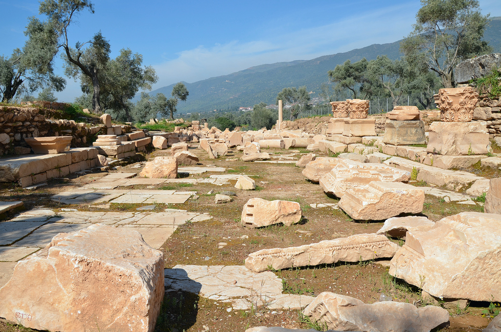 The street leading to the entrance to the Agora, Nysa on the Meander, Turkey
