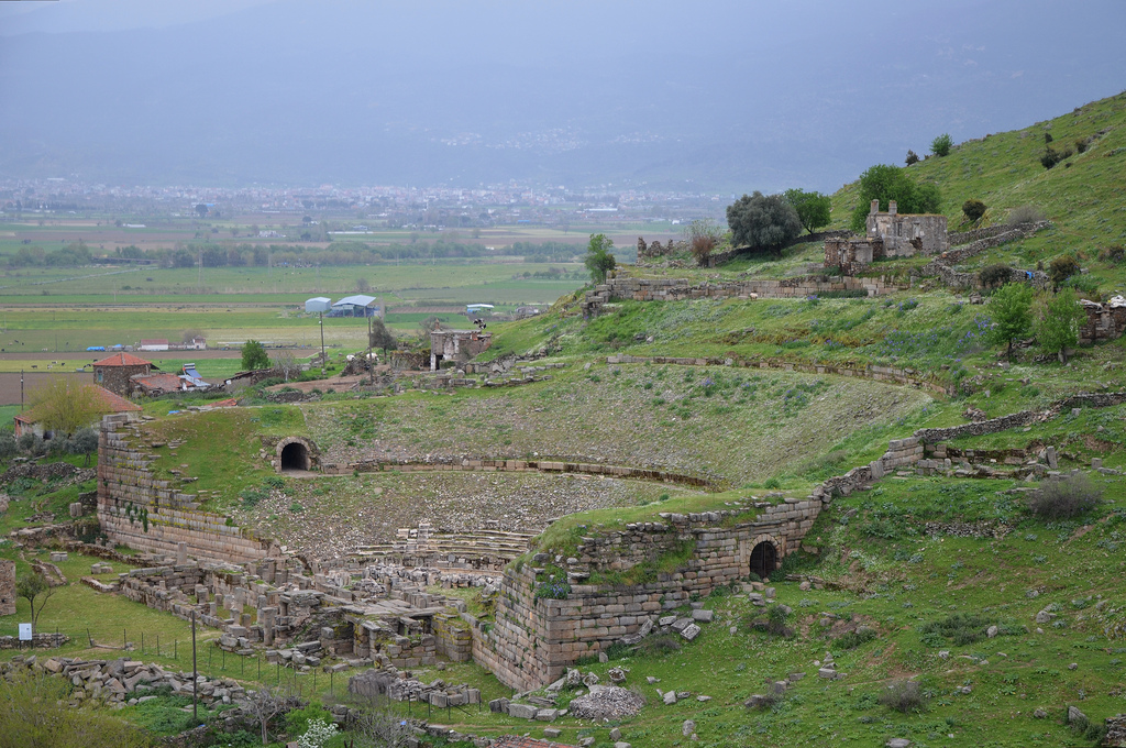 The Hellenistic theate, located on a natural south-facing hillside, in the 4th century AD repairs were made using block rocks from the Temple of Zeus Chrysaoreus, Alabanda, Caria, Turkey