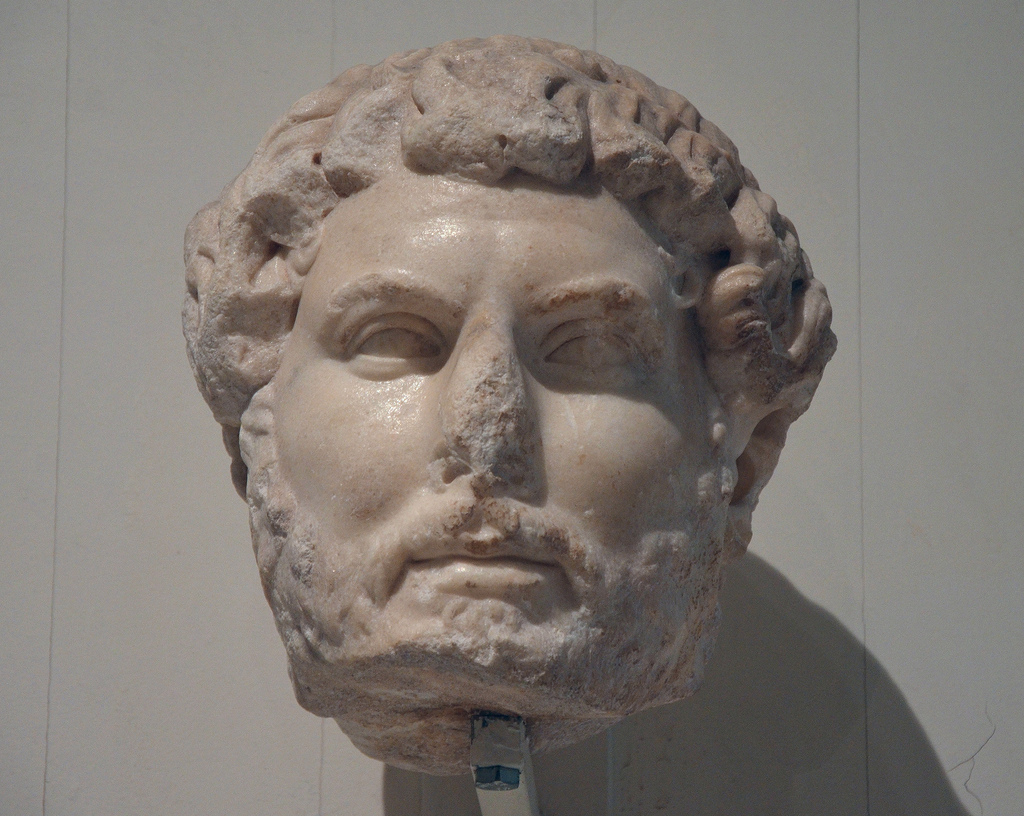 Head of Hadrian, of the so-called Chiaramonti 392 type, from Ephesus, found among the ruins of the The Gate of Mazeus and Mithridates.