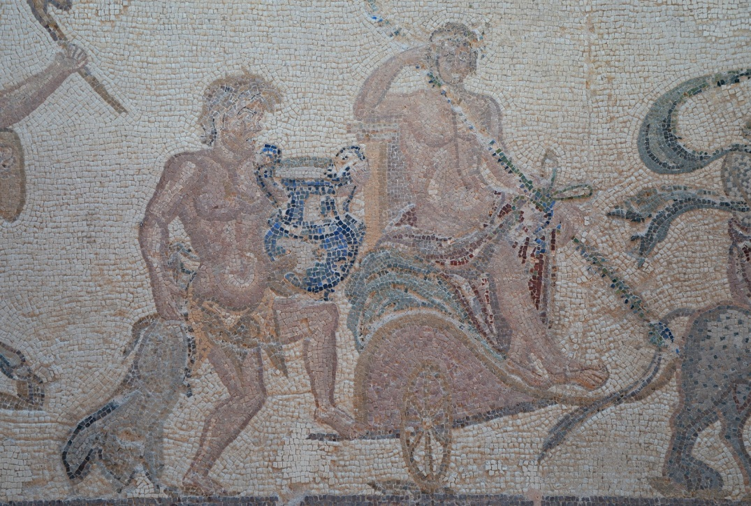 The Triumph of Dionysus in the House of Dionysus, late 2nd / early 3rd century AD, Dionysus sits on a two-wheeled chariot.
