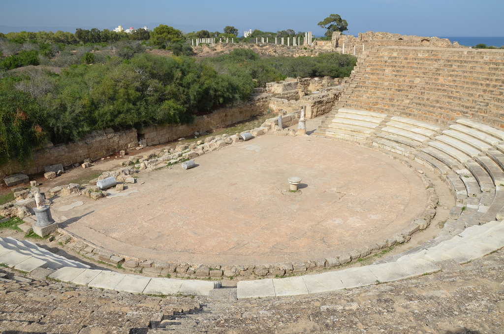 The Roman theatre, built during the reign of Augustus and completed during the years of Trajan and Hadrian, it originally had 50 rows of seats (just 18 remain) and held over 15,000 spectators, Salamis, Northern Cyprus