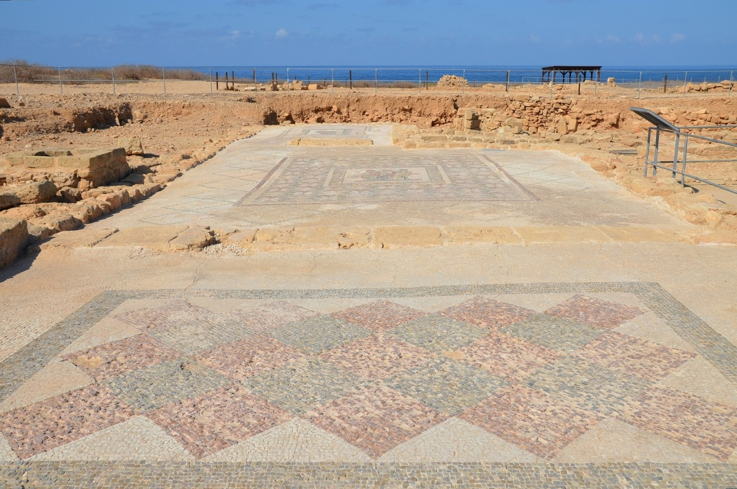 The House of Theseus, mosaic with geometric pattern, mosaic with the Three Horae (Dike, Eunomia and Eirene), and mosaic with Aphrodite.
