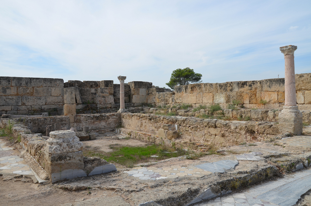 Marble pool at SE corner of the Gymnasium's portico dating back to the 2nd century AD (Trajanic/Hadrianic), Salamis, Northern Cyprus
