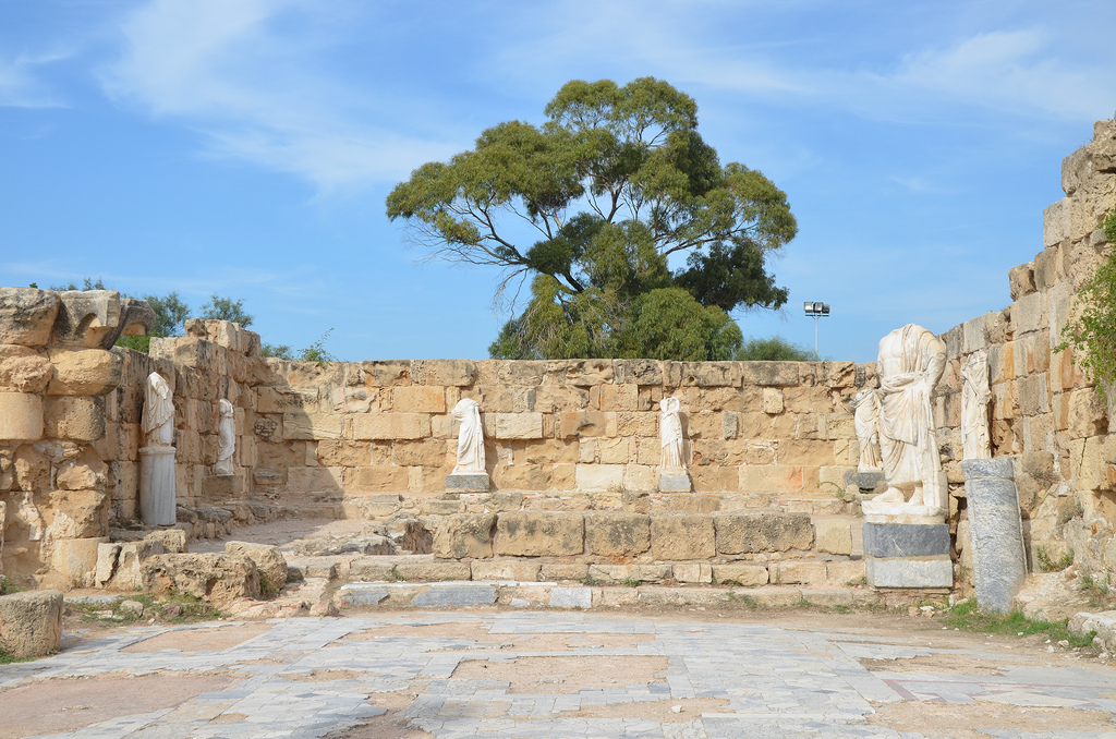 Marble pool at NE corner of the Gymnasium's portico surrounded by headless statues dating back to the 2nd century AD (Trajanic/Hadrianic), Salamis, Northern Cyprus